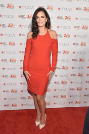 Katie-Lee Joel looked hip and modern in a red cold-shoulder dress during the American Heart Association Go Red for Women event.