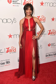 Rachel Lindsay looked divine in a Pamella Roland color-block gown with an illusion-panel bodice at the Go Red for Women 2018.