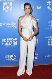 Bailee Madison looked flirty in a white halter top by Armani at the 2018 American Humane Hero Dog Awards.