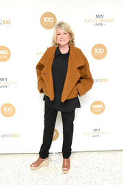 For her footwear, Martha Stewart kept it relaxed in a pair of wedges.