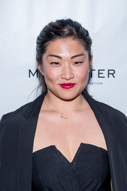 Jenna Ushkowitz swept her locks back into a casual ponytail for the Broadway opening of 'American Psycho.'