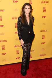 Keri Russell's black Gucci lace jacket and pants ensemble at the premiere of 'The Americans' season 5 was a feminine way to suit up!