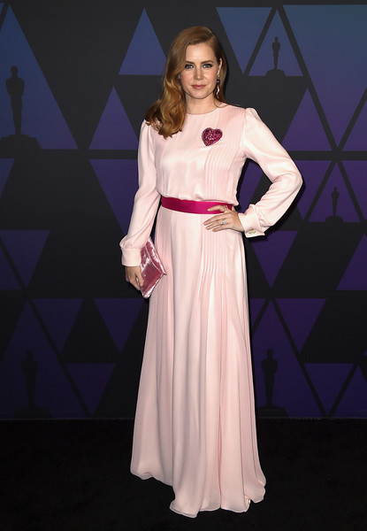 Amy Adams Velvet Clutch [clothing,dress,fashion model,pink,fashion,gown,formal wear,purple,shoulder,neck,amy adams,hollywood highland center,california,the ray dolby ballroom,academy of motion picture arts and sciences,10th annual governors awards,governors awards]