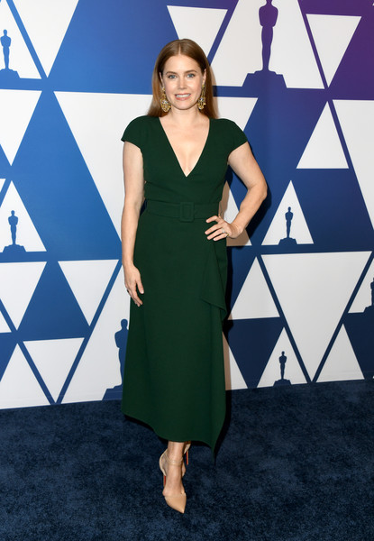 Amy Adams Midi Dress [clothing,dress,fashion model,cocktail dress,cobalt blue,fashion,carpet,footwear,flooring,formal wear,arrivals,nominees,amy adams,the beverly hilton hotel,beverly hills,california,oscars,oscars nominees luncheon]