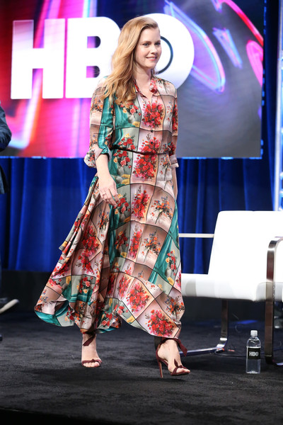 Amy Adams Strappy Sandals [sharp objects,fashion,clothing,fashion show,performance,fashion design,beauty,event,fashion model,public event,dress,amy adams,producer,the beverly hilton hotelon,beverly hills,california,tca,hbo,press tour,portion]
