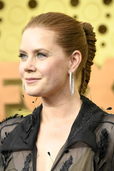 Amy Adams Long Braided Hairstyle [hair,hairstyle,eyebrow,beauty,ear,fashion,blond,long hair,lip,black hair,arrivals,amy adams,emmy awards,microsoft theater,los angeles,california]