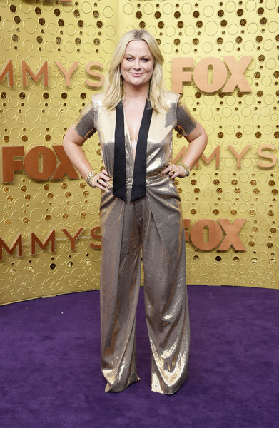 Amy Poehler Jumpsuit [clothing,red carpet,carpet,flooring,pantsuit,suit,fashion,formal wear,long hair,style,arrivals,amy poehler,emmy awards,microsoft theater,los angeles,california]