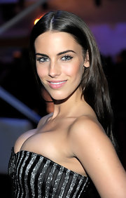 Jessica Lowndes showed off her radiant center part locks while attending An Evening with Chrysler event.