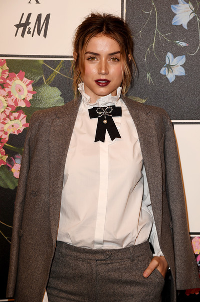 Ana de Armas Ruffle Blouse [erdem runway show,bow tie,tie,suit,clothing,formal wear,tuxedo,fashion,fashion accessory,neck,collar,arrivals,ana de armas,los angeles,the ebell club,california,h m,party,erdem runway show party]