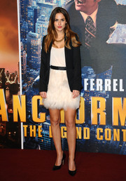 Lucy Watson tamed her frilly dress with a black blazer when she attended the 'Anchorman 2' premiere.