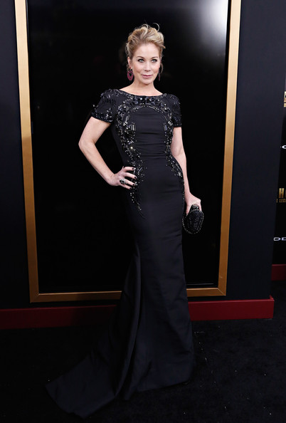 Christina Applegate looked supremely elegant in a beaded black gown by Lorena Sarbu at the 'Anchorman 2' premiere in NYC.