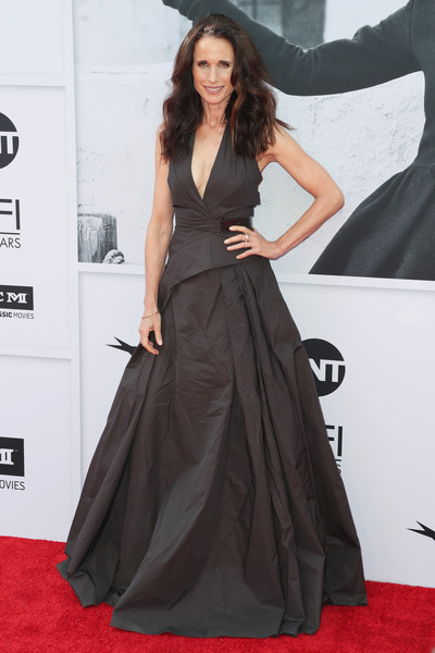 Andie MacDowell Halter Dress [red carpet,clothing,carpet,dress,fashion model,gown,flooring,a-line,premiere,fashion,california,hollywood,dolby theatre,american film institutes 45th life achievement award gala tribute,andie macdowell,diane keaton - arrivals,diane keaton]