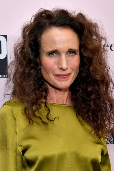 Andie MacDowell Long Curls [l.a. dance project,hair,hairstyle,face,eyebrow,long hair,chin,brown hair,layered hair,ringlet,surfer hair,andie macdowell,los angeles,california,l.a. dance project annual gala - arrivals,hauser wirth,gala]