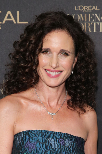 Andie MacDowell Pearl Pendant [loreal paris women of worth 2015 celebration - arrivals,andie macdowell,hair,beauty,hairstyle,human hair color,long hair,shoulder,chin,ringlet,black hair,brown hair,new york city,the pierre hotel]