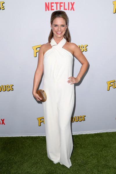 Andrea Barber Jumpsuit [white,clothing,red carpet,carpet,yellow,shoulder,dress,flooring,premiere,neck,andrea barber,arrivals,fuller house,pacific theatres,california,los angeles,the grove,netflix,premiere,premiere]