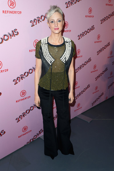 Andrea Riseborough Vest [photo,clothing,fashion,hairstyle,fashion design,blond,carpet,flooring,premiere,red carpet,event,andrea riseborough,caption,los angeles,refinery29 29rooms,row dtla,california,refinery29,getty images,turn it into art opening night party]