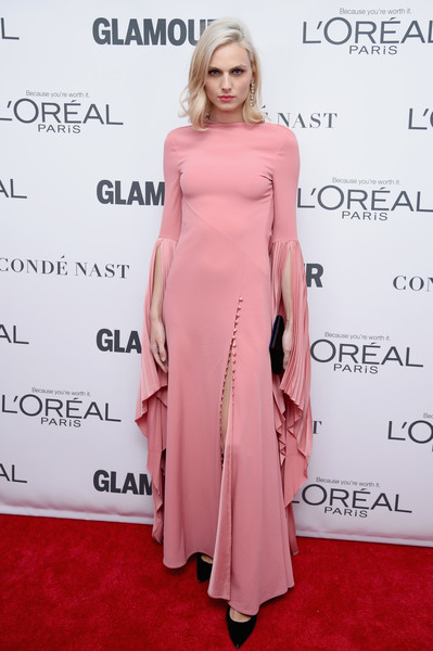 Andreja Pejic Evening Dress [shoulder,clothing,dress,pink,red carpet,joint,hairstyle,fashion,carpet,fashion model,arrivals,andreja pejic,women of the year awards,brooklyn,new york,kings theatre,glamour,glamour celebrates 2017 women of the year awards]