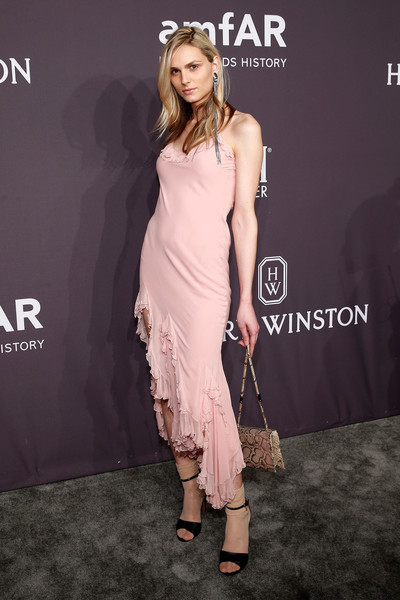 Andreja Pejic Snakeskin Purse [fashion model,clothing,dress,shoulder,fashion,pink,hairstyle,cocktail dress,premiere,joint,harry winston,andreja pejic,harry winson,amfar new york gala,new york city,cipriani wall street,presenting sponsor,amfar new york,gala]
