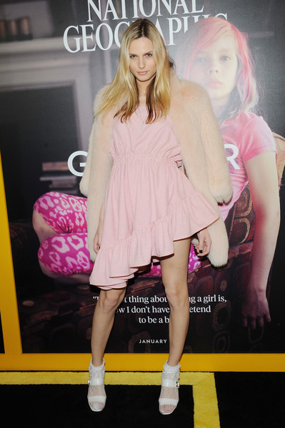 Andreja Pejic Strappy Sandals [national geographic hosts world premiere screening of ``gender revolution: a journey with katie couric,gender revolution: a journey with katie couric,pink,clothing,fashion,fashion model,dress,footwear,fashion show,fashion design,magenta,cocktail dress,andreja pejic,new york city,national geographic,world premiere screening]