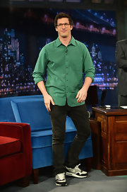 Andy Samberg made geeky chic with this green plaid button down.