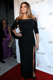 Wendy Williams looked distinguished at the Angel Ball in this black fitted off-the-shoulder number.