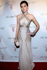 Jessica looked glorious in this beaded halter gown at the Angel Ball.