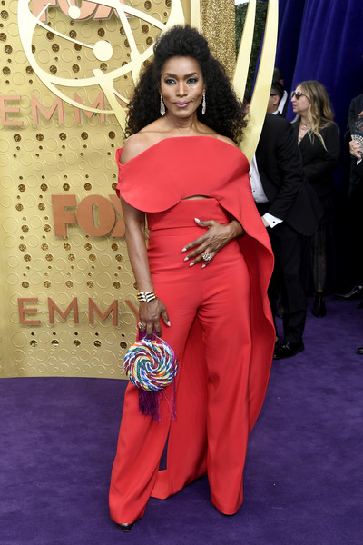 Angela Bassett High-Waisted Pants [red carpet,clothing,carpet,red,flooring,shoulder,hairstyle,fashion,dress,joint,arrivals,angela bassett,emmy awards,microsoft theater,los angeles,california]