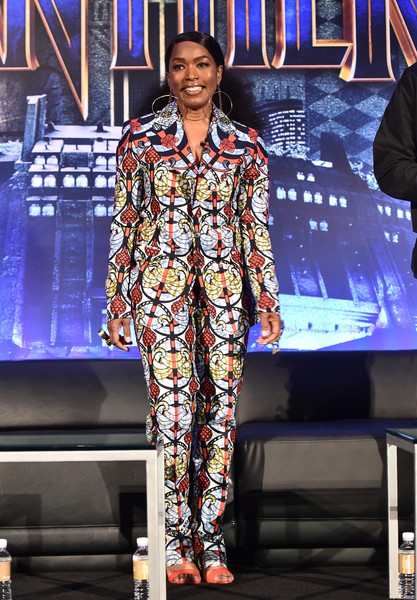 Angela Bassett Pantsuit [fashion,performance,event,fashion design,public event,fashion model,fashion show,stage,performing arts,electric blue,angela bassett,beverly hills,california,marvel studios,montage beverly hills,black panther global junket press conference]