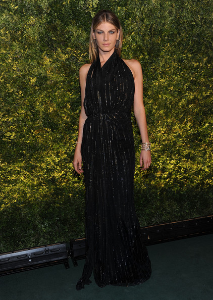 Angela Lindvall Evening Dress [dress,clothing,fashion,long hair,hairstyle,carpet,shoulder,little black dress,fashion model,red carpet,angela lindvall,new york city,christies,green auction: a bid to save the earth]