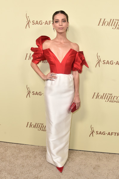 Angela Sarafyan Off-the-Shoulder Dress [the hollywood reporter,fashion model,gown,dress,flooring,beauty,cocktail dress,shoulder,fashion show,fashion,carpet,nominees,reporter,contenders,arrivals,contenders,angela sarafyan,celebrate emmy award,hollywood,sag-aftra]