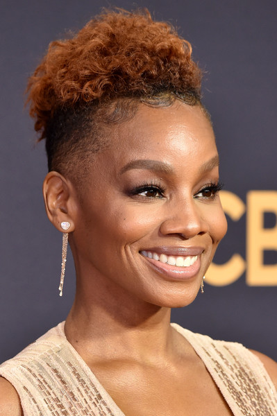 Anika Noni Rose Mohawk [hair,hairstyle,face,eyebrow,chin,forehead,beauty,hair coloring,lip,ringlet,arrivals,anika noni rose,microsoft theater,los angeles,california,primetime emmy awards]
