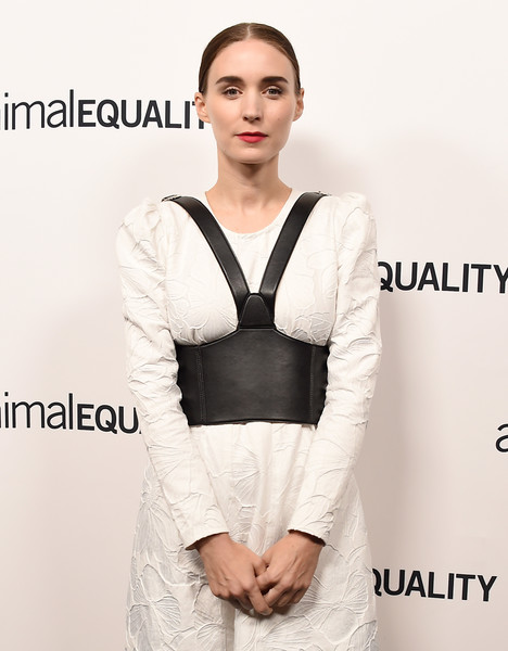 Rooney Mara's oversized faux-leather harness belt added major edge to her demure dress at the Animal Equality's Inspiring Global Action Gala.