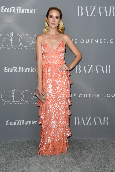 Anna Camp Evening Dress [dress,clothing,shoulder,gown,fashion model,hairstyle,fashion,premiere,joint,formal wear,arrivals,anna camp,costume designers guild awards,beverly hills,california,the beverly hilton hotel,cdga]
