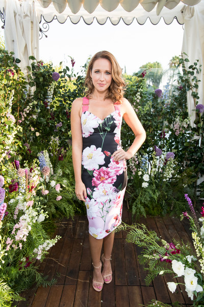 Anna Camp Print Dress [clothing,dress,shoulder,pink,lady,spring,cocktail dress,summer,waist,day dress,anna camp,california,hollywood,petit ermitage,ted baker london a,launch event,launch event]
