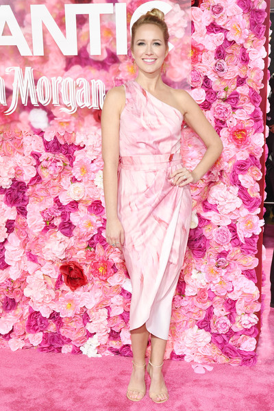 Anna Camp Strappy Sandals [isnt it romantic,pink,fashion model,dress,lady,fashion,shoulder,spring,cocktail dress,petal,magenta,arrivals,anna camp,california,los angeles,the theatre,ace hotel,warner bros. pictures,premiere]