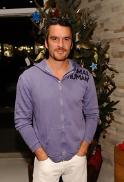 Balthazar Getty sported a purple zip-up jacket at the Anna Getty Book Party.