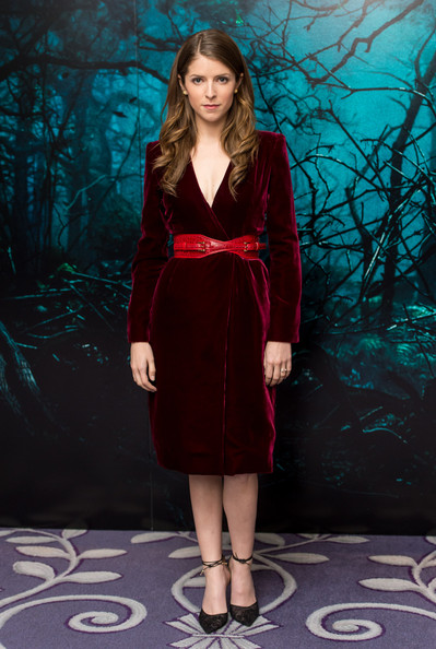 Anna Kendrick Pumps [into the woods,fashion model,clothing,fashion,dress,velvet,maroon,long hair,outerwear,cocktail dress,formal wear,anna kendrick,photocall,photocall,corinthia hotel london,england]