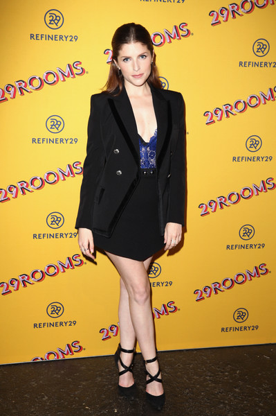 Anna Kendrick Skirt Suit [clothing,yellow,fashion,little black dress,outerwear,cocktail dress,suit,formal wear,premiere,dress,anna kendrick,29rooms san francisco,san francisco,california,palace of fine arts,refinery29,party,turn it into art opening,turn it into art opening party 2018]