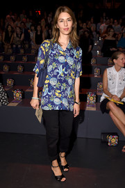 Sofia Coppola styled her look with a pair of satin cross-strap sandals.