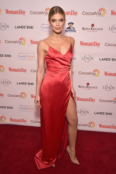 AnnaLynne McCord Wrap Dress [womans day,clothing,dress,shoulder,fashion model,red carpet,joint,red,carpet,hairstyle,cocktail dress,annalynne mccord,red dress awards,new york city]