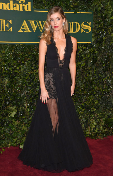 Annabelle Wallis Evening Dress [red carpet,dress,clothing,carpet,gown,fashion,a-line,flooring,premiere,hairstyle,red carpet arrivals,annabelle wallis,london evening standard theatre awards,london,england,theatre royal]