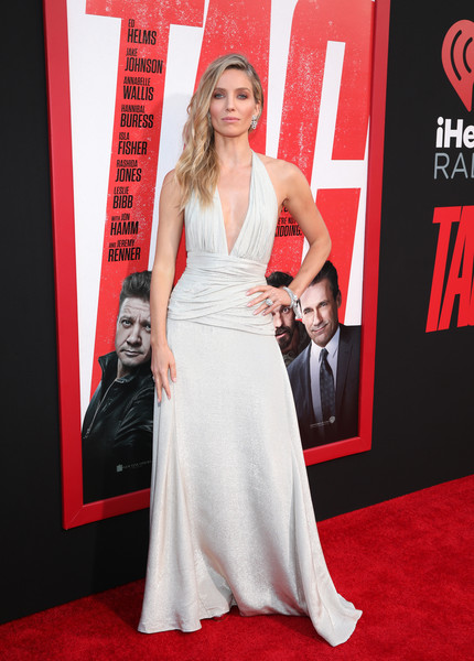 Annabelle Wallis Halter Dress [red carpet,dress,carpet,gown,clothing,premiere,red,flooring,hairstyle,fashion,annabelle wallis,red carpet,regency village theatre,california,warner bros. pictures,new line cinema,westwood,premiere]