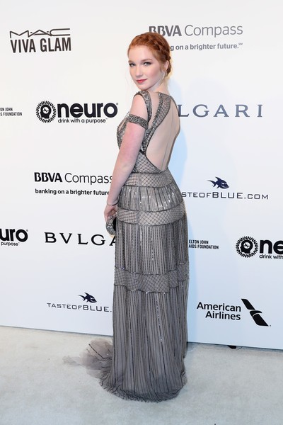 Annalise Basso Beaded Dress [hair,clothing,dress,hairstyle,shoulder,fashion design,fashion,premiere,long hair,flooring,arrivals,annalise basso,west hollywood park,california,the city,elton john aids foundation,oscar viewing party,academy awards viewing party]