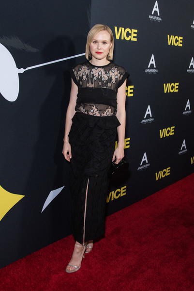 Alison Pill cut a chic figure at the premiere of 'Vice' in a black Rachel Comey dress with a sheer-panel bodice and a ruffled skirt.