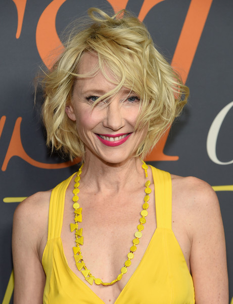 Anne Heche Messy Cut [the best of enemies,hair,blond,hairstyle,yellow,surfer hair,layered hair,smile,premiere,long hair,feathered hair,anne heche,new york city,lincoln square,amc loews,new york premiere]