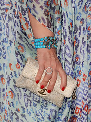 Sharon Osbourne wore a multi-layered beaded bracelet at the Annenberg Space Exhibit.