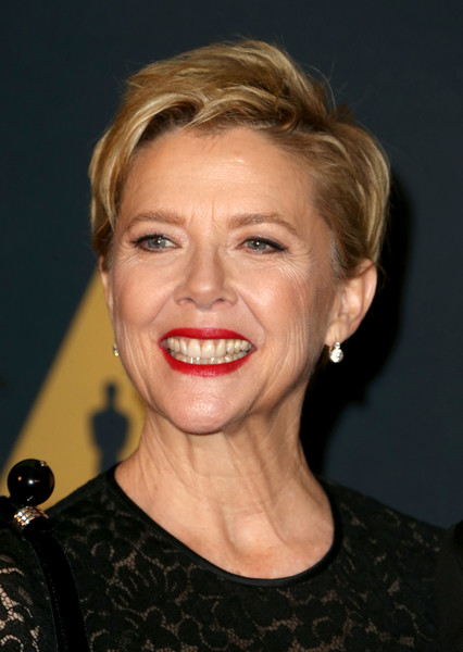 Annette Bening Fauxhawk [hair,face,hairstyle,facial expression,blond,chin,eyebrow,lip,head,smile,annette bening,hollywood highland center,california,the ray dolby ballroom,academy of motion picture arts and sciences,8th annual governors awards,governors awards]