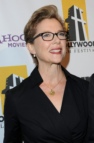 Annette Bening Fauxhawk [red carpet,eyewear,hair,glasses,hairstyle,white-collar worker,vision care,premiere,smile,brown hair,little black dress,annette bening,beverly hills,california,the beverly hilton hotel,annual hollywood awards gala]
