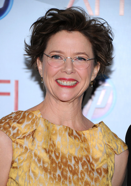 Annette Bening Messy Cut [hair,hairstyle,yellow,eyewear,smile,shoulder,premiere,glasses,brown hair,long hair,arrivals,annette bening,eleventh annual afi awards,four seasons hotel,los angeles,california,afi awards]