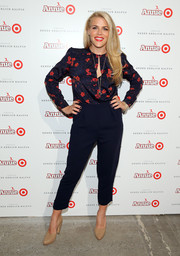 Busy Philipps attended the Annie for Target launch looking cheery in a blue and red floral blouse by Rachel Comey.